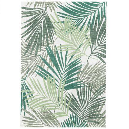 In- und Outdoor Teppich Flachgewebe Carpetto Grün Blätter