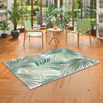 In- und Outdoor Teppich Flachgewebe Carpetto Grün Blätter online kaufen