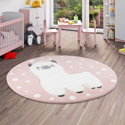 Kinder Teppich Maui Kids Alpaka Rosa Rund online kaufen