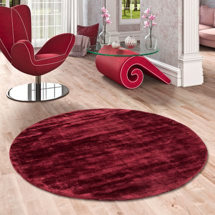Luxus Designer Teppich Roma Weinrot Rund online kaufen