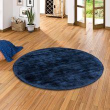 Luxus Designer Teppich Roma Dunkelblau Rund online kaufen