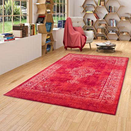 Designer Teppich Passion Vintage Bordüre Rot