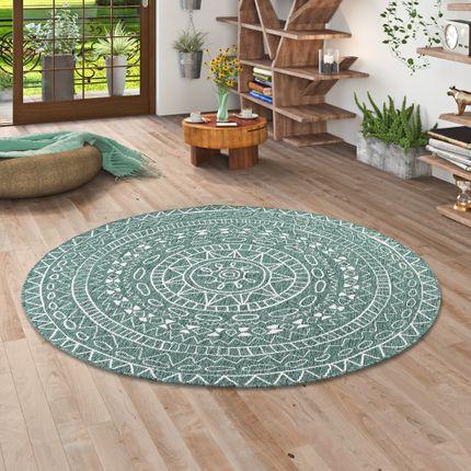 In- und Outdoor Teppich Beidseitig Flachgewebe Newport Mandala Grün Rund