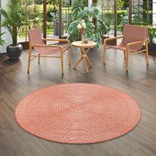In- und Outdoor Teppich Beidseitig Flachgewebe Newport Stripes Terrakotta Rund online kaufen