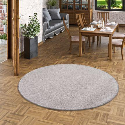 Luxus Soft Velours Teppich Shine Taupe Rund online kaufen