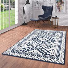 In- und Outdoor Teppich Flachgewebe Santorin Ethno Bordüre Blau Creme online kaufen