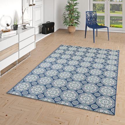 In- und Outdoor Teppich Flachgewebe Carpetto Fliesen Blau Kreise