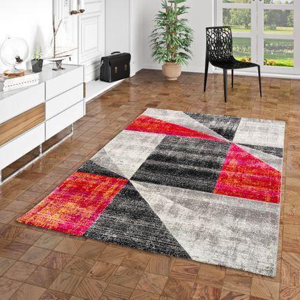 Designer Teppich Maui Modern Rot Grau Pink Meliert