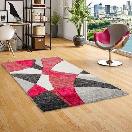 Designer Teppich Maui Modern Rot Grau Pink Retro