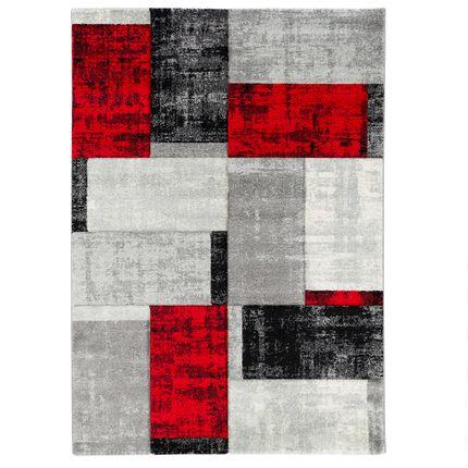 Designer Teppich Maui Modern Karo Rot Anthrazit online kaufen