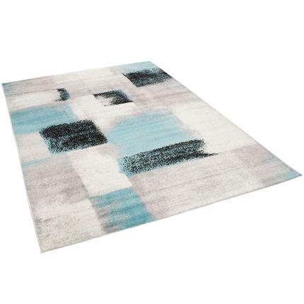 Designer Teppich Tango Karo Grau Blau Verlauf online kaufen