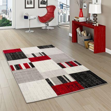 Designer Teppich Tango Modern Karomuster Rot Grau