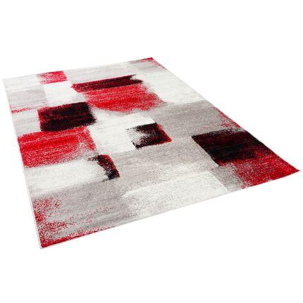 Designer Teppich Tango Karo Rot Grau Verlauf online kaufen