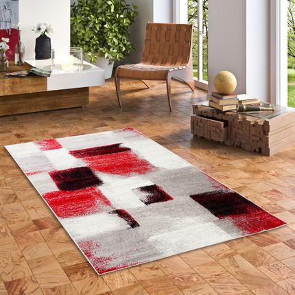 Designer Teppich Tango Karo Rot Grau Verlauf