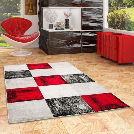 Designer Teppich Tango Rot Anthrazit Karo online kaufen