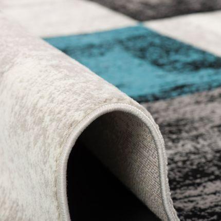 Designer Teppich Tango Türkis Anthrazit Karo online kaufen