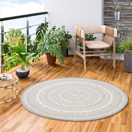 In- und Outdoor Teppich Flachgewebe Carpetto Grau Rund online kaufen