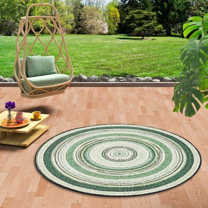 In- und Outdoor Teppich Flachgewebe Carpetto Grün Stripes Rund online kaufen
