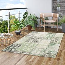 In- und Outdoor Teppich Flachgewebe Carpetto Grün Patchwork online kaufen