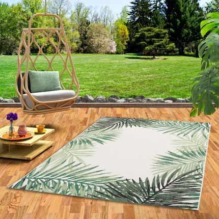 In- und Outdoor Teppich Flachgewebe Carpetto Grün Blätter Bordüre online kaufen
