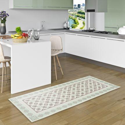 Vinyl Teppich Küchenläufer Evora Fliesenoptik Mintgrün