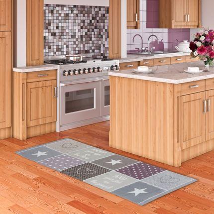 Küchenläufer Teppich Trendy Keep Your Eyes Rosa Beige Sterne online kaufen