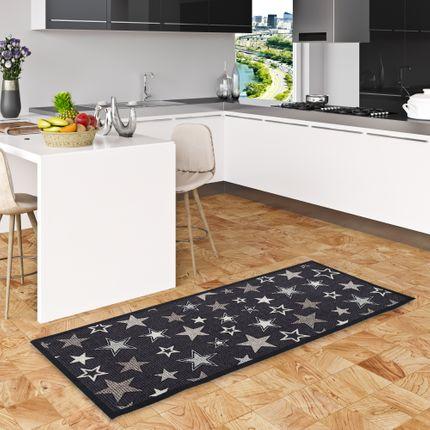 Küchenläufer Teppich Trendy Sterne Schwarz Beige