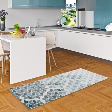Küchenläufer Teppich Trendy Blau Grau Retro online kaufen