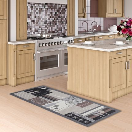 Küchenläufer Teppich Trendy Bistro Beige Braun