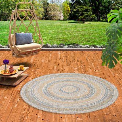In- und Outdoor Teppich Flachgewebe Carpetto Beige Stripes Rund