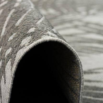 Modern Flachgewebe Ruggy Grau Anthrazit Blätter online kaufen