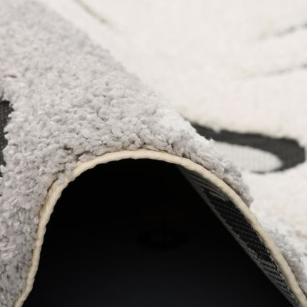 Hochflor Langflor Shaggy Kinder Teppich Richie Zebra Grau Weiss Rund online kaufen