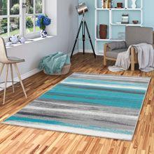 Designer Teppich Samba Türkis Grau Stripes online kaufen
