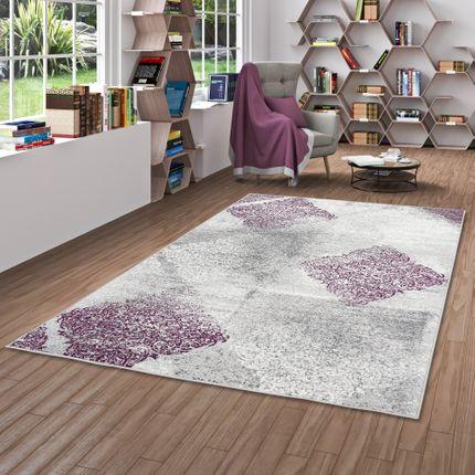 Designer Teppich Samba Modern Karo Purple