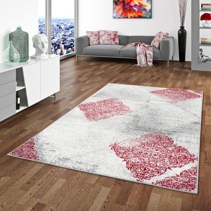 Designer Teppich Samba Modern Karo Rot