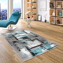 Designer Teppich Samba Modern Grau Türkis Urban online kaufen