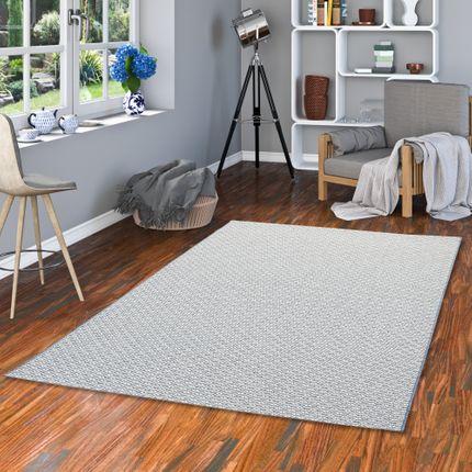 In- und Outdoor Teppich Flachgewebe Carpetto Blau Creme