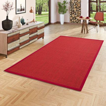 Sisalteppich Natura Rot Bordüre Rot