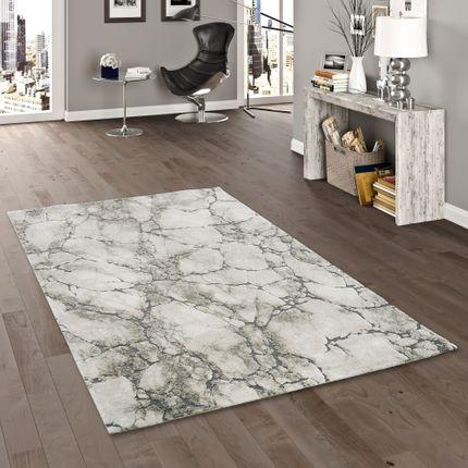 Venezia Luxus Designer Teppich Marmor Opitk Grau