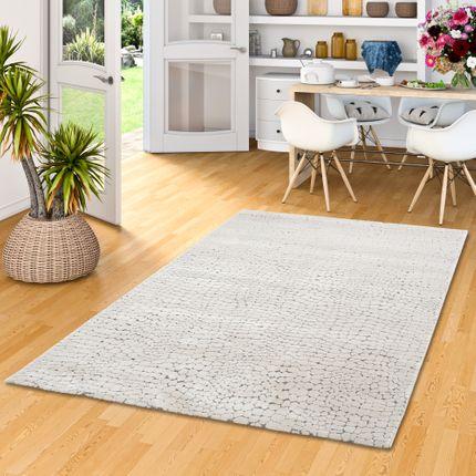 Venezia Luxus Designer Teppich Steinoptik Grau Meliert