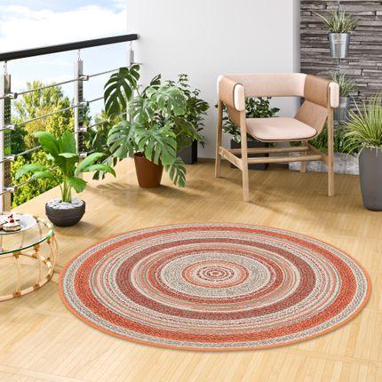 In- und Outdoor Teppich Flachgewebe Carpetto Terrakotta Stripes Rund online kaufen