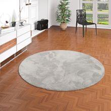 Luxus Hochflor Shaggy Teppich Velvet Grau Rund online kaufen