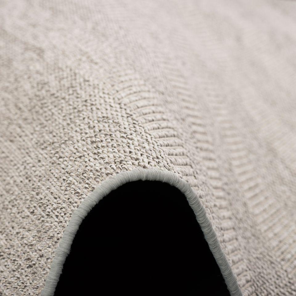 Sisal-Optik Designer Flachgewebe Teppich Pure Hellgrau