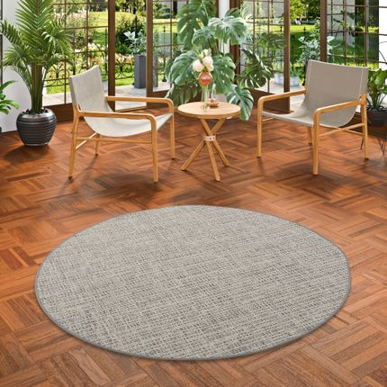 Sisal-Optik Designer Flachgewebe Teppich Pure Beige Grau Meliert Rund