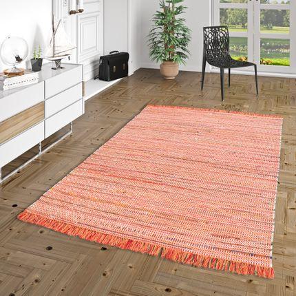 Baumwolle Natur Teppich Cayenne Rot Orange Bunt Meliert