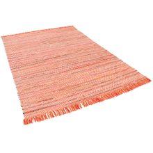 Baumwolle Natur Teppich Cayenne Rot Orange Bunt Meliert online kaufen