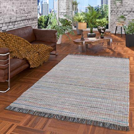 Baumwolle Natur Teppich Cayenne Grau Bunt Meliert