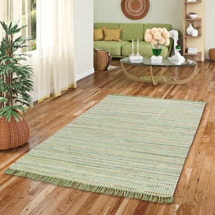 Baumwolle Natur Teppich Cayenne Grün Bunt Meliert