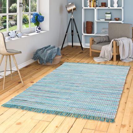 Baumwolle Natur Teppich Cayenne Blau Türkis Bunt Meliert