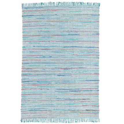 Baumwolle Natur Teppich Cayenne Blau Türkis Bunt Meliert online kaufen
